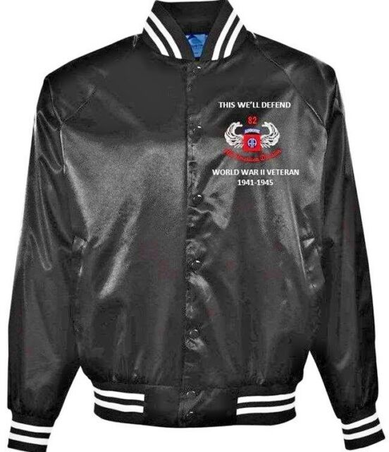 82ND AIRBORNE DIVISION* WW II VETERAN 1941-1945 EMBROIDERED 1-SIDED SATIN  JACKET