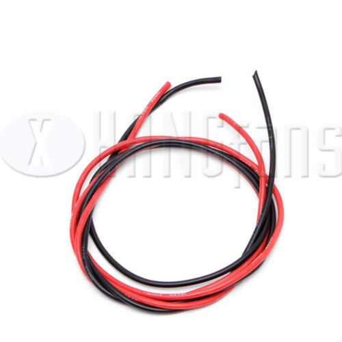 10//12//14//16 AWG Gauge Wire Flexible Silicone Copper Cables RC Black Red 2M ATF