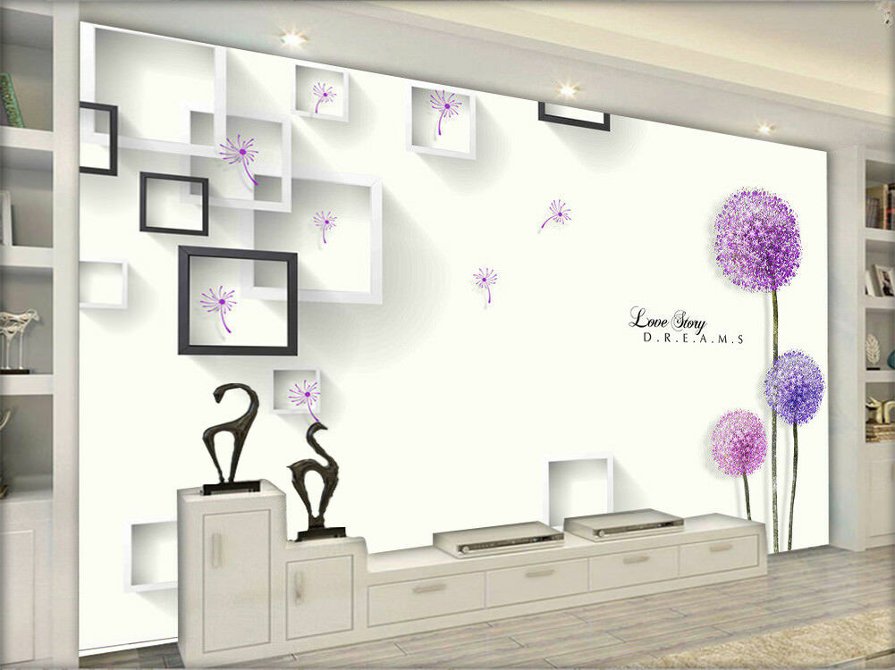 Contracted Purple Flowers 3D Full Wall Mural Photo Wallpaper Printing Home Kids