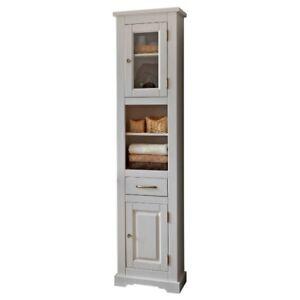 hochschrank badezimmer badregal badm bel bad schrank naturholz massivholz wei ebay. Black Bedroom Furniture Sets. Home Design Ideas