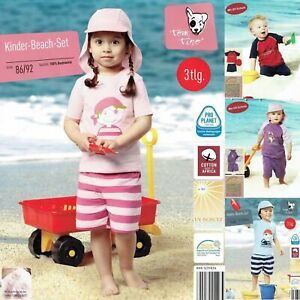 3-tlg-Kinder-Baby-Beach-Set-Baumwolle-UV-Schutz-Strand-T-Shirt-Shorts-Muetze-Oko