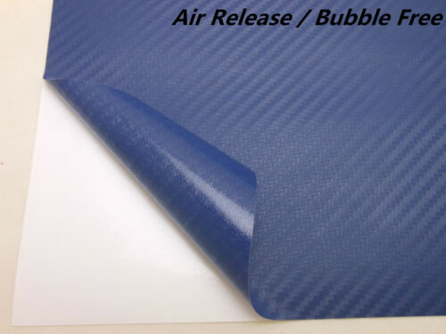 2FT X 5FT BLUE 3D Carbon Fiber Vinyl Vehicle Wrapping Sticker Sheet AIR FREE