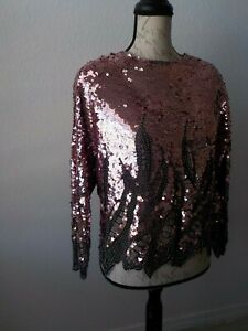 Oleg-Cassini-Sequin-Pink-Small-Blouse-Top-He-Ro-Wedding-Party-Cocktail-Xmas-Sexi
