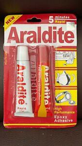 Araldite Rapid RED Tube 2 x 15ml Tubes Strong Ceramics Wood Glass Metal Adhesive