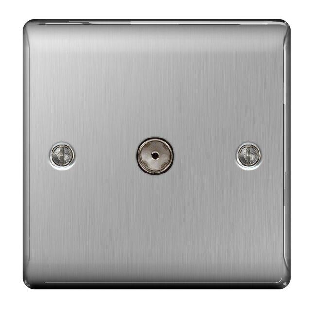 British General NBS60 1-Gang Nexus Metal Brushed Steel TV Aerial Co-axial Socket