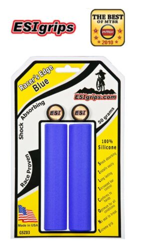 ESI Silicone BMX MOUNTAIN BIKE Grips Racers Edge BLUE Cannondale Santa Cruz Trek