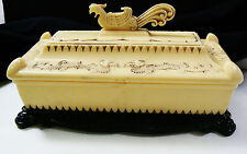 Vintage Oriental Jewelry Trinket Box ivory color and black plastic Bird & Dragon