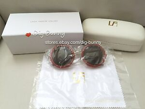 21c448eeff02 Linda Farrow The Row 8 Round Sunglasses Rust Red Walnut   Silver ...