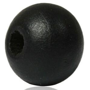 500-Stk-Holzkugeln-Holzperlen-Perlen-schwarz-rund-8-mm-Schmuck-Basteln-Loch-diy