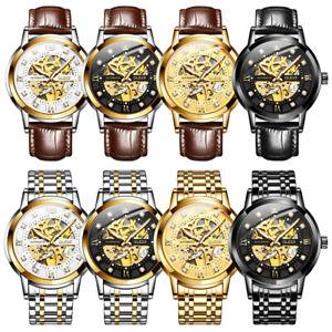 OLEVS-Men-Steel-Leather-Strap-Watch-Mechanical-Movement-Waterproof-Wristwatches