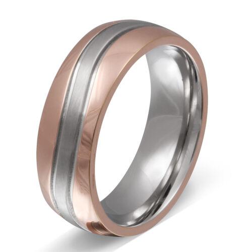 Gratis Gravur Ein Partnerring Ehering aus Edelstahl rosegold/_silver LaH255