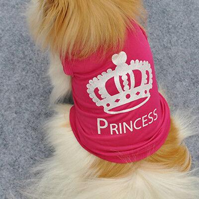 Cute Pet Dog Crown Princess T-Shirt Clothes Vest Summer Coat Costumes Outfit