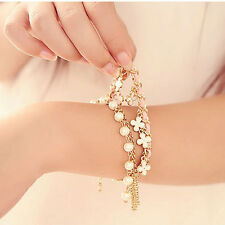 Fashion Korean Style White Pearl Clover Bracelet Leather Rope Bracelet Jewelry