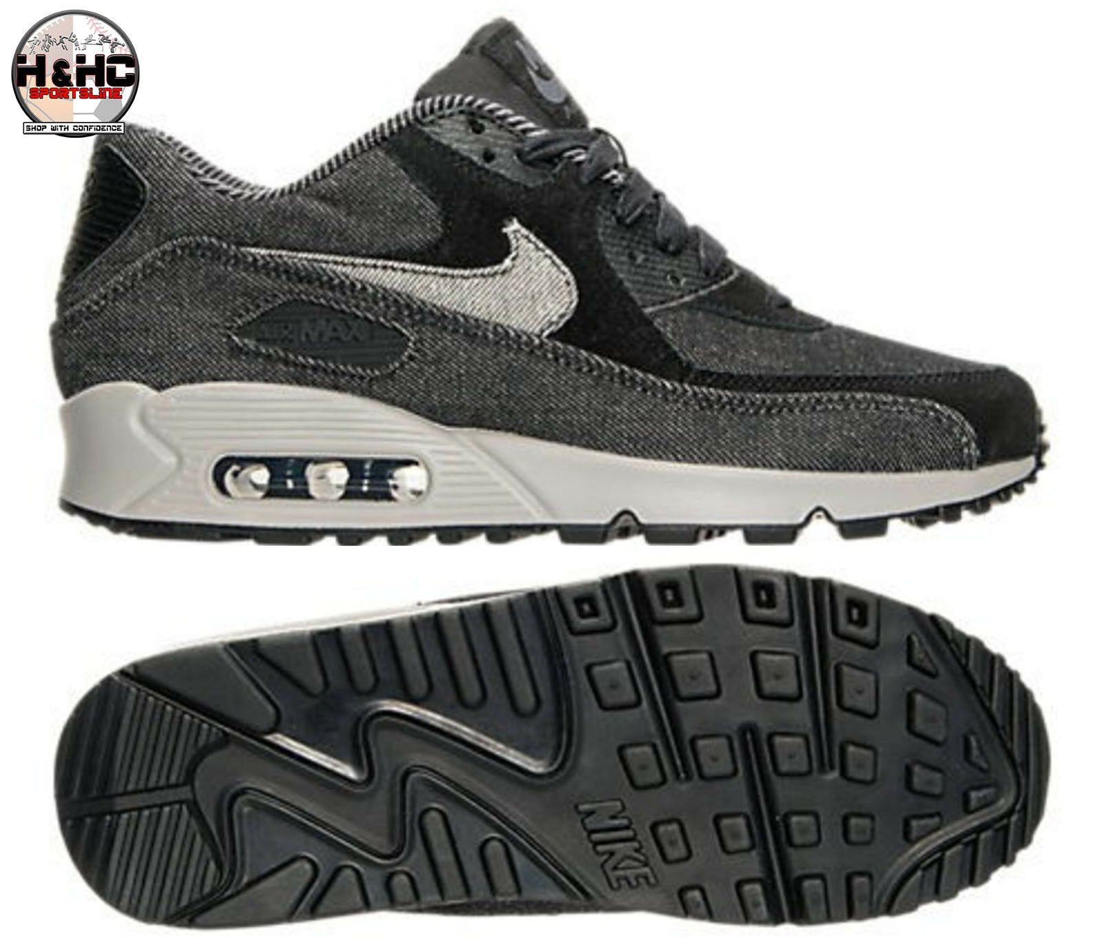 Nike Air Max 90 SE 881105 002 Black/Black-Dark Grey Women's Shoes Sz 5