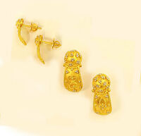 22k 22kt solid gold earring  from India #33