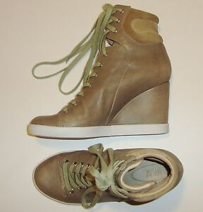 BEAUTIFUL-SEE-by-CHLOE-OLIVE-GREEN-LEATHER-amp-SUEDE-WEDGE-SNEAKERS-BOOTIES-40