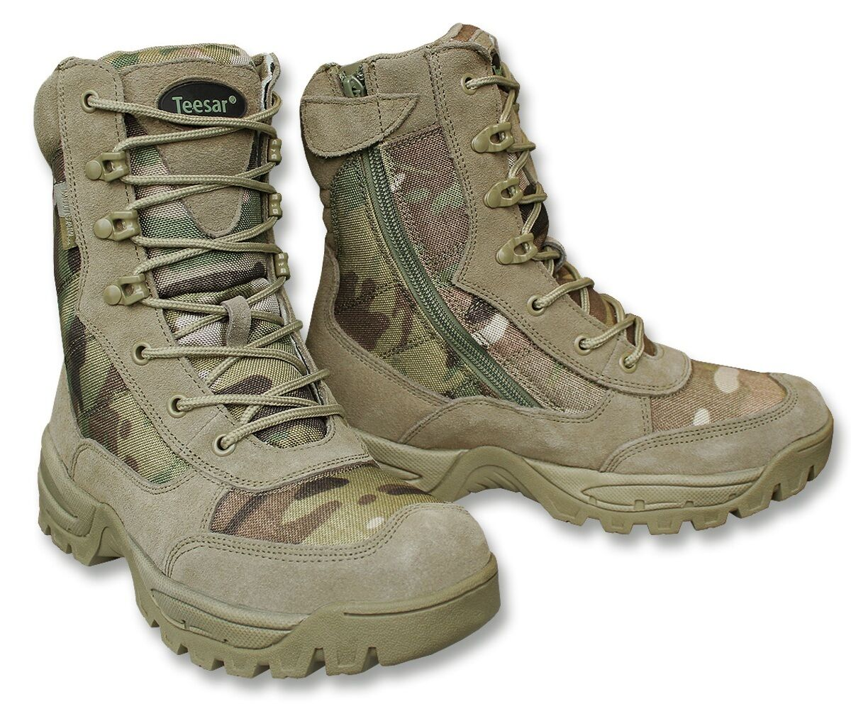 Multicam Tactical Combat Side zip Boots Airsoft Paintball Hiking All Sizes