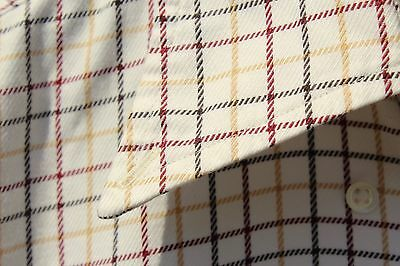 Façonnable M Ivory, Burgundy, Gold & Black Tattersall Check Cotton Shirt $186.00