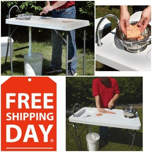 Portable Outdoor Camp Sink Folding  Fish Cleaning Table Cooking Camping w  Faucet  enjoy 50% off