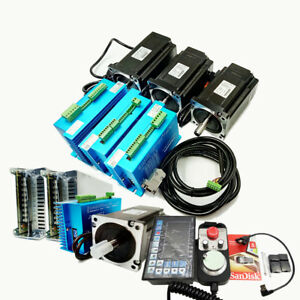 4Axis 4.5NM Nema34 Closed Loop Stepper Motor Drive Kit+Controller<wbr/>+Power Supply