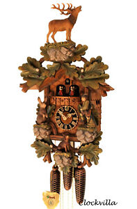cuckoo-clock-black-forest-8-day-original-german-hunter-wood-music-new-painted