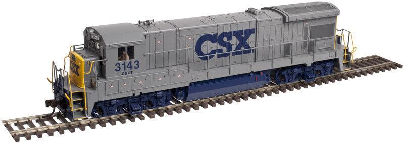 Transporte csx (gris   azul   amarillo) en la escala de Atlas Haugh GE b23 - 7 1