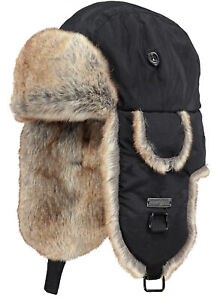 2020-NEW-ADULT-BARTS-KAMIKAZE-TRAPPER-BOMBER-BLACK-FAUX-FUR-LINED-WARM-HAT