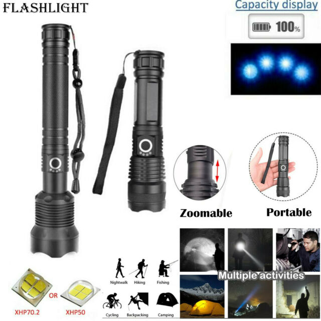 Tactical LED XHP70 Flashlight Torch Zoomable Powerful Outdoor Camping Lamp 18650