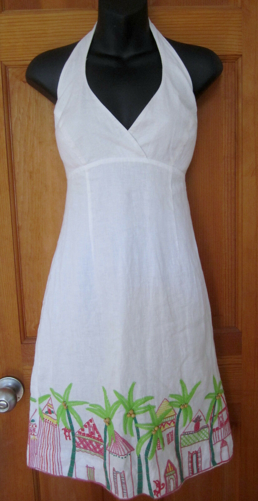 LILLY PULITZER Linen Halter Dress With Embroidered Hem, size 4