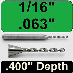 """#48 .076/"""" Diameter Solid Carbide Drill 1//8/"""" Shank Kyocera #105-0760.400"""