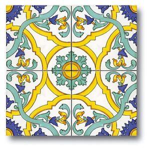 Piastrelle Di Ceramica Decorate.Dettagli Su Ceramica Vietri Piastrelle 20x20 Decorate A Mano Consegna In 7 Gg Lavorativi