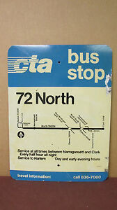 Original-Double-Sided-72-North-CTA-Bus-Stop-Chicago-Aluminum-Sign-18in-x-24in-S9