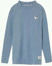 New Victoria Secret PINK Stadium Mock Neck Pullover Crew Sweater Bluebell Small