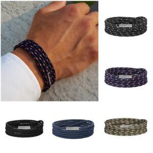 scarpe di separazione 877eb c254c Dettagli su Bracciale uomo braccialetto con corda nautica in cordino da  cordoncino nero blu