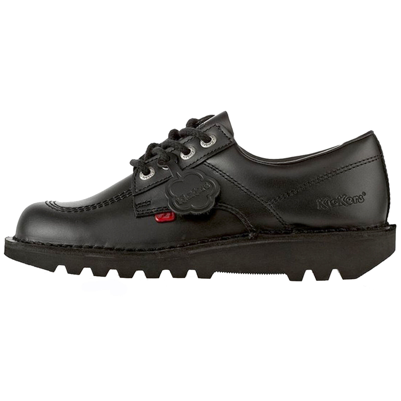 LADIES KICKERS KICK LOW W CORE CORE CORE BLACK LEATHER LACE UP SCHOOL SHOES e1da31