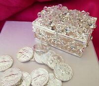 Wedding Arras With Rhinestone/ Unity Coins Silver / Arras Keepsake