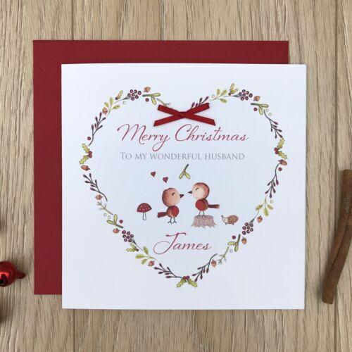 Wife Boyfriend Husband Handmade Personalised Couple Christmas Card
