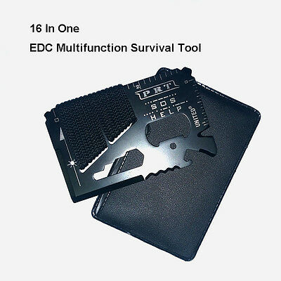 16 in 1 Pocket EDC Multi-function Screwdriver  Wrench Survival Tool Card b870
