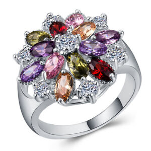 Fashion-Women-925-Silver-Jewelry-Multicolor-Topaz-Wedding-Ring-Size-6-10