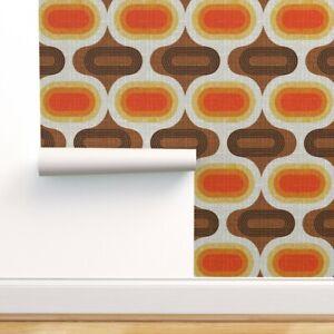 Wallpaper Roll Retro Orange Geometric Scandinavian Ogee Midcentury 24in x 27ft