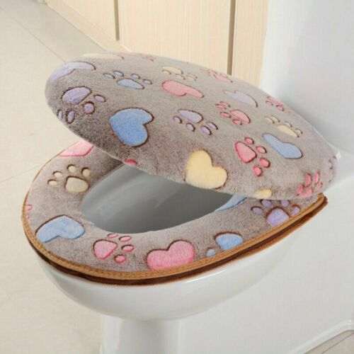 1set Toilet Seat Mat And Lid Cover Thicked Warm Closestool Cushion Zipper Design