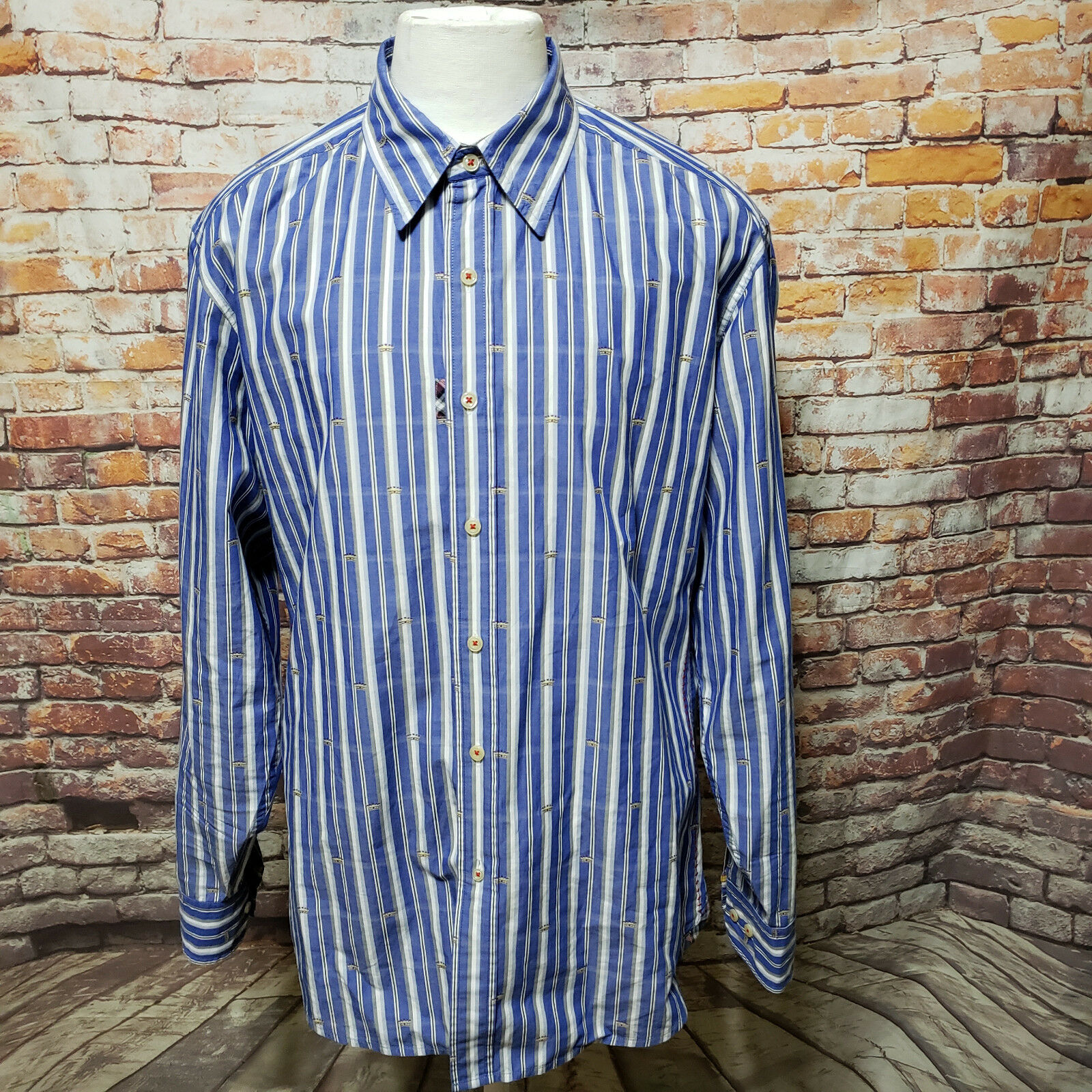 ROBERT GRAHAM blueE STRIPED COTTON FLIP CUFFS LONG SLEEVE SHIRT SIZE L A41-22