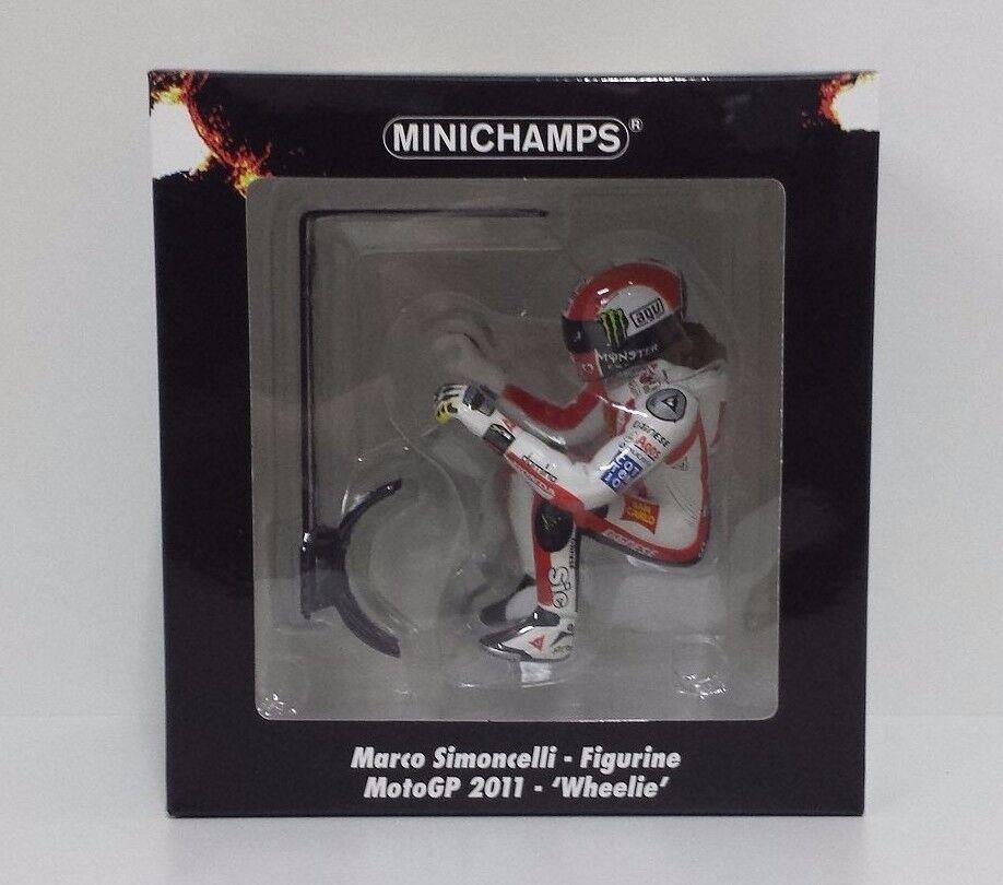MINICHAMPS MARCO SIMONCELLI 1 12 MODELLINO FIGURA MOTOGP 2011 WHEELIE 1158 PCS