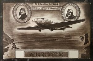 1928 Ulm Germany Postcard Early Airmail Cover East To West Flight Hermann Köhl