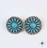 Vintage Navajo Turquoise Cluster Sterling Silver Earrings By Zeta Begay