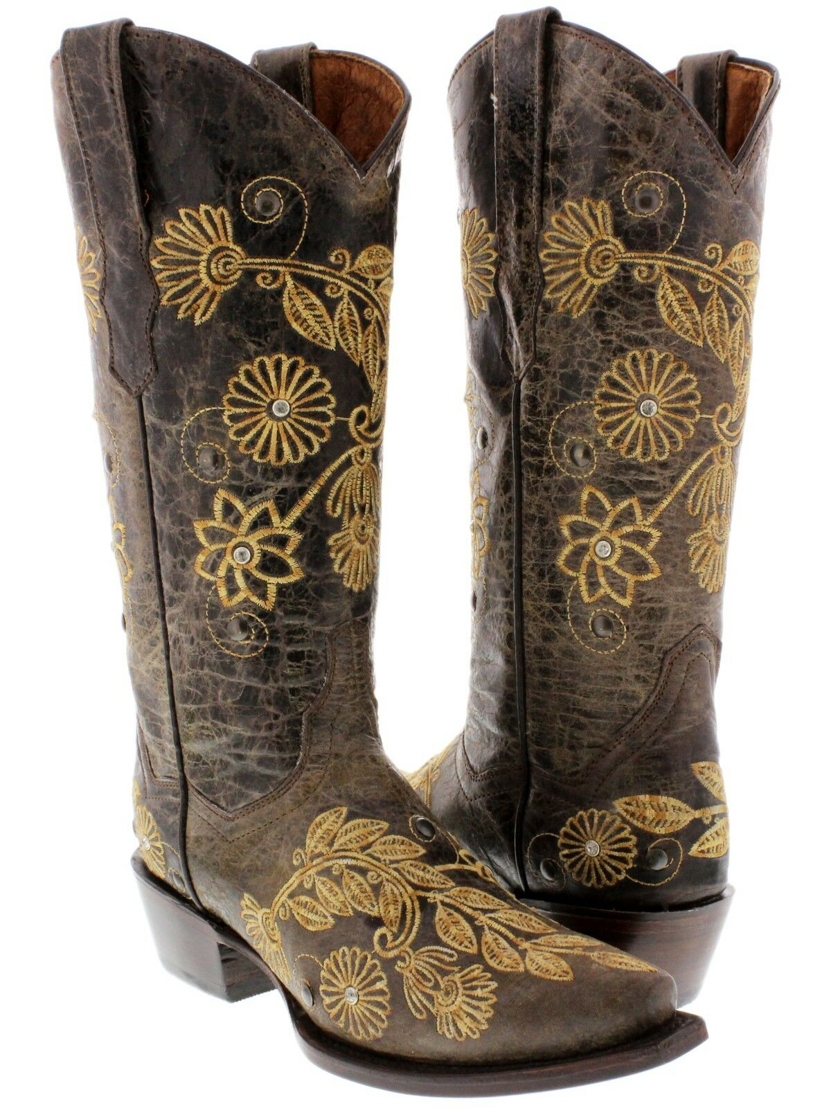 Donna Brown Western Pelle Cowboy Cowgirl Stivali Rodeo Riding Embroidered Snip