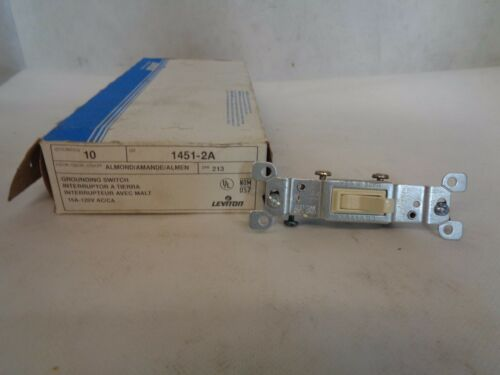 NEW BOX OF 10 LEVITON # 1451-2A SWITCHES ALMOND 15A 120V