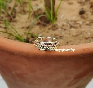 Solid-925-Sterling-Silver-Spinner-Meditation-Ring-Statement-Ring-Size-X-ra30