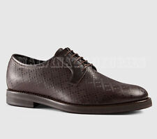 $750 GUCCI MENS SHOES BROWN DIAMANTE LEATHER LACE-UP OXFORD LOAFERS 11 12 45.5