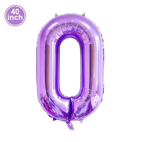 40in Large Purple Number Balloons Violet Foil Ballons Birthday Party Decore